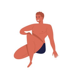 Sunburnt man in black underpants with fit body vector
