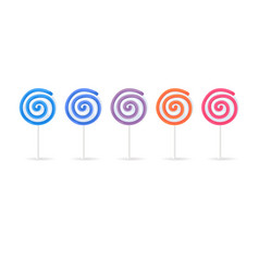 swirl spiral lollipops candy set isolated on white vector image