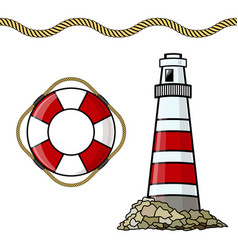 the lighthouse life buoy isolated vector image