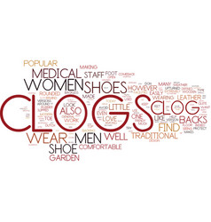 the men and women s clog in review text vector image