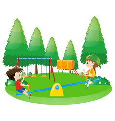 Two boys on seesaw vector