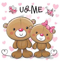 two cute cartoon teddy bears vector image