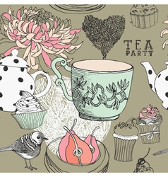 Vintage tea party pattern vector