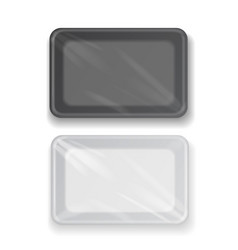 White and black plastic tray container vector