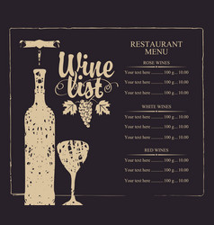 wine list menu with bottle glass and grape bunch vector image vector image