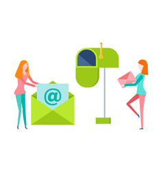 women holding letter postbox with envelope vector image