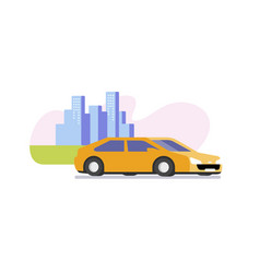 yellow car on the road vector image