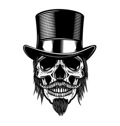 Zombie skull in vintage hat design element for vector