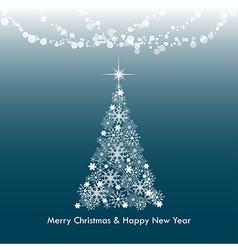 Dark blue Merry Christmas greeting light tree vector image