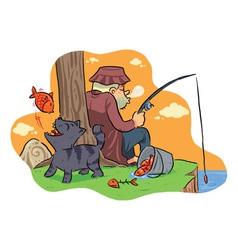 Fishing on the lake vector