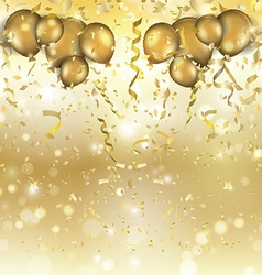 gold balloons and confetti background 0305 vector image vector image