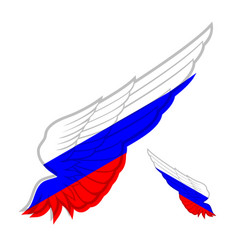 wing with flag of russia on white background vector image vector image