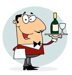 Caucasian Male Waiter Serving Wine vector image vector image