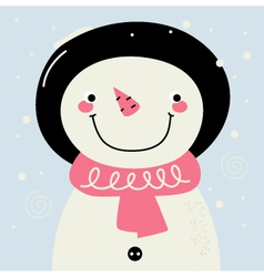 Cute retro Snowman with pink Scarf vector image