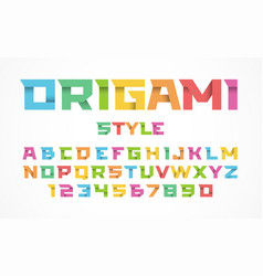 origami style font vector image