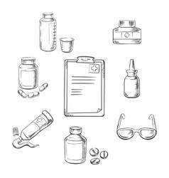 Prescription and medical sketch icons vector image vector image