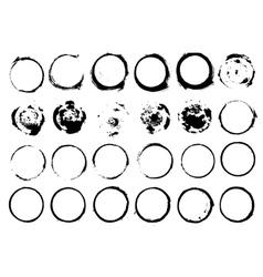 Set of grunge circle brush strokes vector image vector image