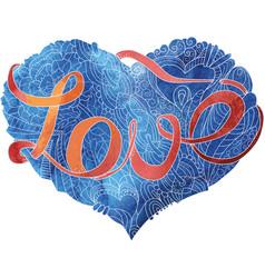 sketchy doodle blue heart vector image
