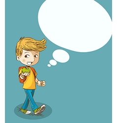 Education back to school boy with social bubble vector image