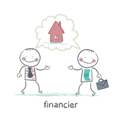 financier talking with a man about the house vector image
