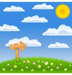 green field with wooden arrow sign vector image vector image