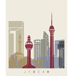Jeddah skyline poster vector image vector image