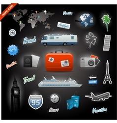 Travel icons elements set vector image