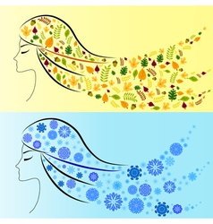 Beautiful girl winter and autumn vector image vector image