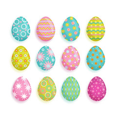 big set of colored eggs easter decoration element vector image vector image