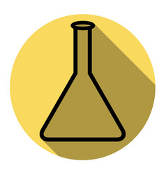 conical flask sign flat black icon with vector image