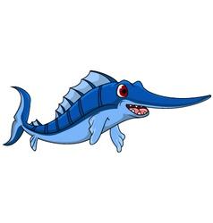cute blue marlin cartoon vector image vector image
