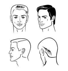 four man outline faces vector image vector image
