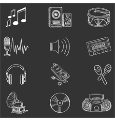 Hand drawn music icon set vector image vector image