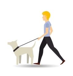 man walking a white dog vector image