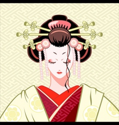 shy geisha vector image vector image