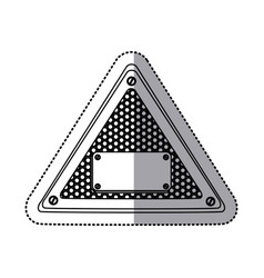 sticker silhouette triangle metallic frame with vector image