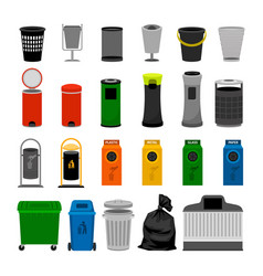 trash cans colorful icons collection vector image