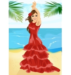 Young woman dancing flamenco on beach vector image