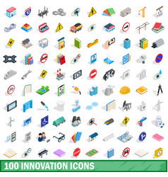 100 innovation icons set isometric 3d style vector image