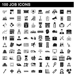 100 job icons set simple style vector