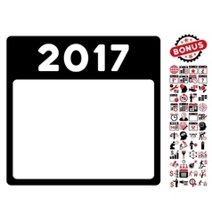 2017 Year Calendar Template Flat Icon With vector image