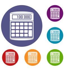 An electronic calculator icons set vector
