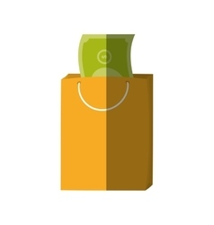bag gift money color shadow vector image
