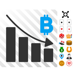 bitcoin recession bar chart icon with bonus vector image