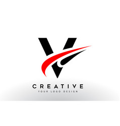 Black and red creative v letter logo design with vector