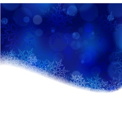 Blue Christmas winter background with blurry ligh vector image