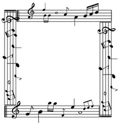 Border template with musicnotes on white vector