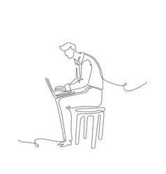 businessman with a notebook - one continuous line vector image
