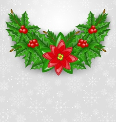Christmas decoration with holly berry pine and vector