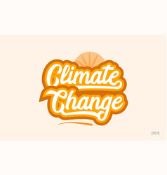 Climate change orange color word text logo icon vector